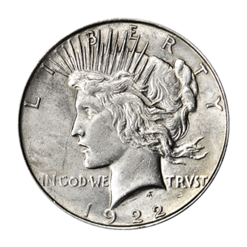 """Left facing profile of Lady Liberty and the words """"Liberty In God We Trust"""" and the year"""