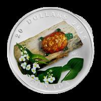 1 oz 2015 Venetian Glass Turtle with Broadleaf Arrowhead Flower Silver Proof Coin