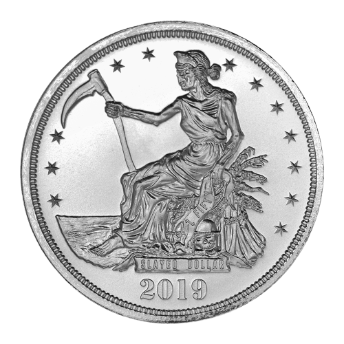 "Lady Liberty sitting on a throne of skeletons and the words ""Slayed Dollar Z Fifty 2019"""