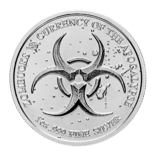 Biohazard symbol - Zombucks - 1 oz .999 fine Silver - Currency of the Apocalypse - Provident Metals compass logo