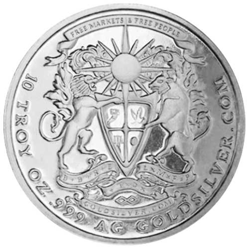 "The Lydian Bull and Lion supporting a crest divided into quadrants capped by a blazing sun and the words ""Free Markets & Free People 10 Troy Oz .999 AG GoldSilver.com"""