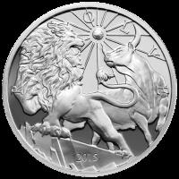 Ronda de Plata Proof Modern Ancients Lion and Bull (León y Toro Antiguos y Modernos) 2015 de 10 oz