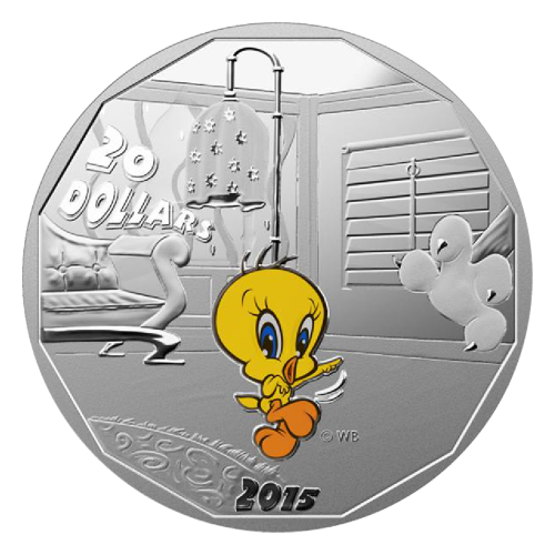 "Colourized Tweety, Sylvester Cat, Bugs Bunny and Daffy Duck (on their own coins) and the words ""20 Dollars 2015 © WB"""