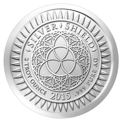 "The revised Silver Shield logo with the trivium in the centre encircled by the words ""Silver Shield 2 Troy ounce 2015 .999 Pure Ag"" surrounded by 47 bullets"