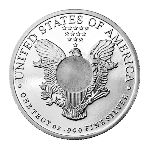 "A heraldic eagle behind a shield clutching arrows in it's left talon and an olive branch in it's right talon with thirteen five-pointed stars above and encircled by the words ""United States of America One Troy oz .999 Fine Silver E Pluribus Unum"""