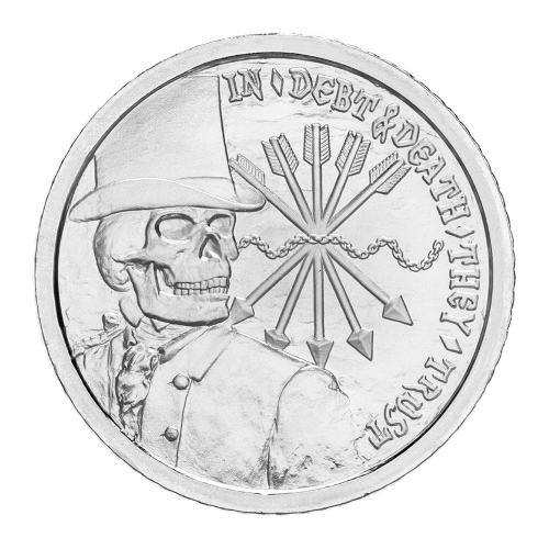 "Skeletonized banker with top hat, the words ""In Debt and Death They Trust ""and the chains of debt and the five arrows of the Rothschild's family crest"