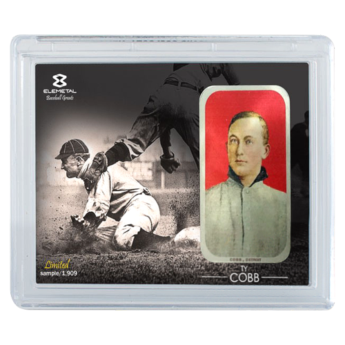 """A sepia photo of Ty Cobb sliding into a base with one of three different T-206 baseball cards inset on the right side and the words """"Elemetal Limited xx/1909 -Ty Cobb-"""""""