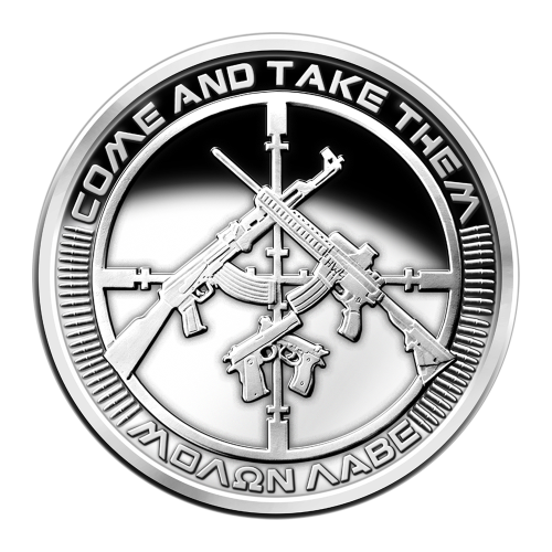 "Come and take them - Molon labe (Greek: ΜΟΛΩΝ ΛΑΒΕ - meaning ""Come and take it"") - 47 bullets around a scope cross-hairs - 2 crossed semi-automatic rifles above 2 crossed semi-automatic pistols"