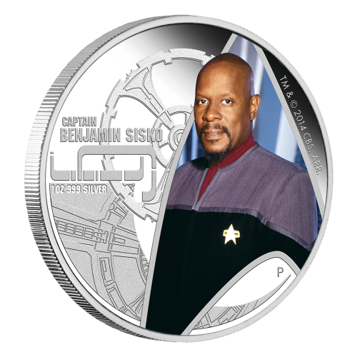 "Colourized Captain Sisko seen through the Star Trek insignia. Overhead view relief of Deep Space 9 and the words ""Captain Benjamin Sisko 1 oz .999 Silver"" and the Perth mintmark."