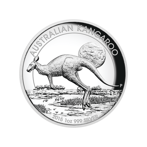 "Kangaroo hopping across the outback at dusk and the words ""Australian Kangaroo 2015 1 oz 999 Silver"""