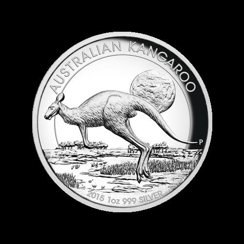 "Kangaroo hopping across the outback at dusk and the words ""Australian Kangaroo 2015 1 oz 999 Silver"""