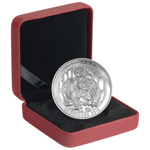 1 oz 2015 Grizzly Bear: Togetherness Silver Proof Coin