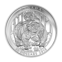 Moneda de Plata Proof Oso Pardo: Compañerismo 2015 de 1 oz