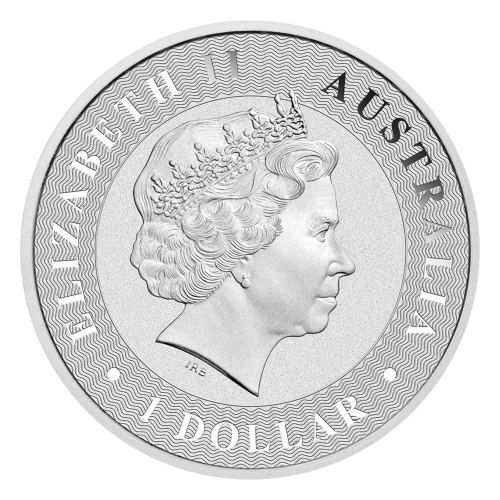 "Hopping kangaroo set over radiating lines and the words ""Australian Kangaroo 2016 1 oz 9999 Silver"""