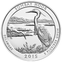 5 oz 2015 America the Beautiful | Bombay Hook National Wildlife Refuge Silver Coin