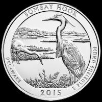 Moneda de Plata América la Hermosa | Refugio Nacional SIlvestre  Bombay Hook 2015 de 5 oz