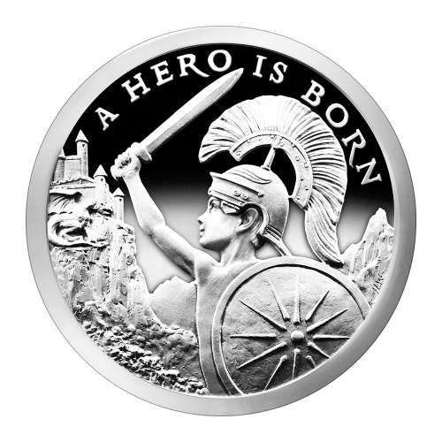 "Boy with helmet, shield and sword facing a dragon and castle and the words ""A Hero is Born"""