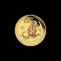 Moneda de Oro a Prueba Casa de la Moneda de Perth Año Lunar del Mono a Color 2016 de 1/10 oz