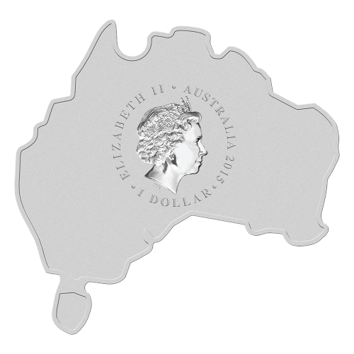 "A Redback spider colourized outback scene and the words ""Redback Spider 1oz 999 Silver 2015"" on a coin shaped like the map of Australia"