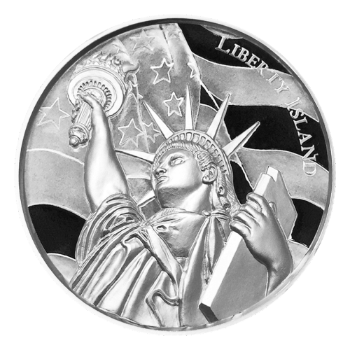 """Relief view of America encircled with the words """"American Landmarks 2 oz .999 Fine Silver"""""""