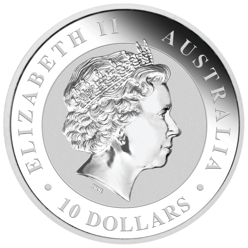 "An adult kookaburra sitting on a fence post and the words ""Australian Kookaburra 10 oz 999 Silver 2016"" and the mintmark ""P"""