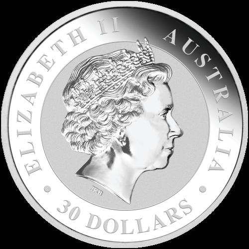 "An adult kookaburra sitting on a fence post and the words ""Australian Kookaburra 1 kg 999 Silver 2016"" and the mintmark ""P"""