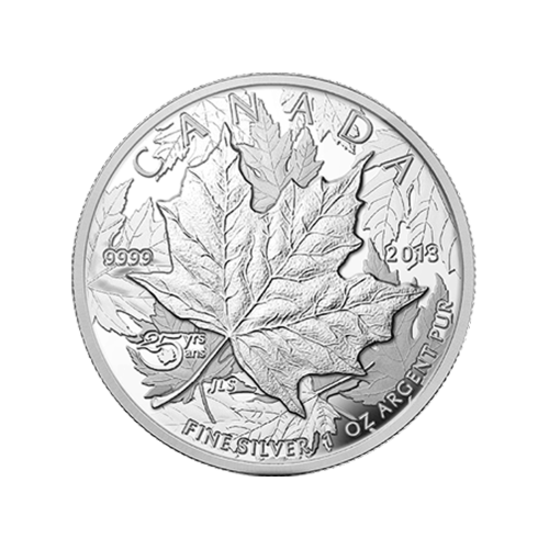 "Multiple layered maple leaves and the words ""Canada 2013 9999 Fine Silver 1 oz Argent Pur 25 yrs ans"""
