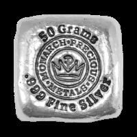 50 gram Monarch Precious Metals Hand Poured Silver Bar