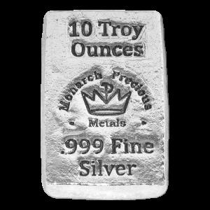 10 oz Monarch Precious Metals Hand Poured Stackable Silver Bar