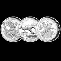 Set de 3 Monedas de Plata Proof Alto Relieve Australia 2015 de 1 oz