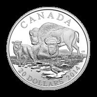 Moneda de Plata Proof Bisonte: Una Familia Descansando 2014 de 1 oz