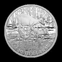 Moneda de Plata Proof Ciervo de Cola Blanca: Cierva y sus Cervatillos 2014 de 1 oz