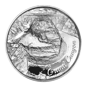 2 oz American Landmarks Series   Grand Canyon Ultra High Relief Silver Round