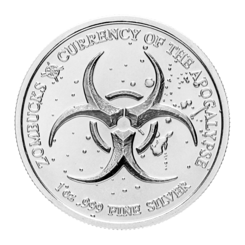 Biohazard symbol | Zombucks | 1 oz .999 fine Silver | Currency of the Apocalypse | Provident Metals compass logo
