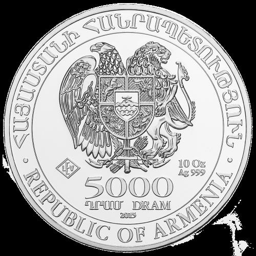 Coat of Arms of the Republic of Armenia - Republic of Armenia - 5000 DRAM - 10 oz Ag 999 - LEV hallmark (Leipziger Edelmetallverarbeitung (Leipzig Precious Metals Factory))