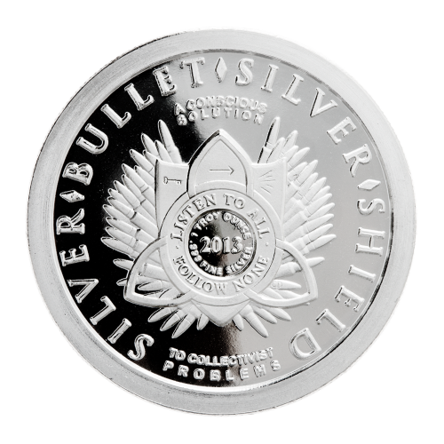 1 oz - .999 Fine Ag - Listen to All - Follow None - Shield - 2013 - Pattern of 47 bullets - Silver - Bullet - Silver - Shield - To Collectivist Problems - A Conscious Solution - Trivium symbol - Key - Arrow - 5 exploding line