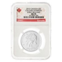 1/2 oz 2015 Calgary Stampede MS-70 Canada Label (Early Releases) Silver Coin