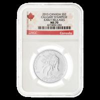 Moneda de Plata Estampida de Calgary MS-70 Etiqueta Canadá (Lanzamientos Anticipados) 2015 de 1/2 oz
