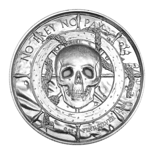 "A skull centred in a ship's wheel with a tattered flag in the background and the words ""No Prey No Pay 2 oz Fine Silver 999"""