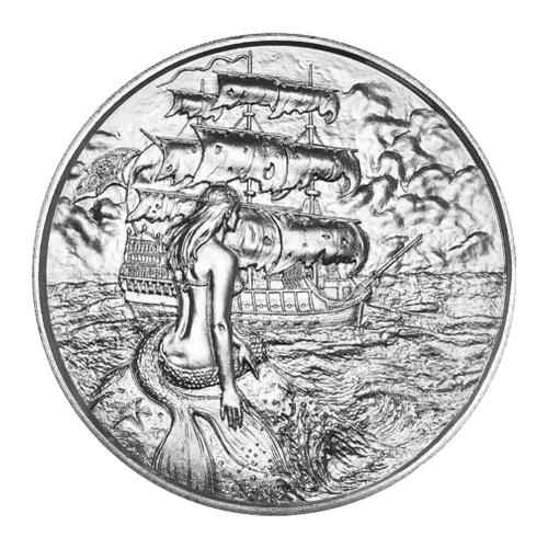 Ultra high relief of a Siren sitting on a rock in the foreground with a starboard view of a pirate ship navigating stormy seas under a full moon