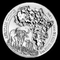 1 oz Silbermünze - Ruanda afrikanischer Kaffernbüffel - 2015