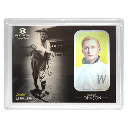 "A sepia photo of Walter Johnson throwing a pitch with one of two different T-206 baseball cards inset on the right side and the words ""Elemetal Limited xx/1909 -Walter Johnson-"""