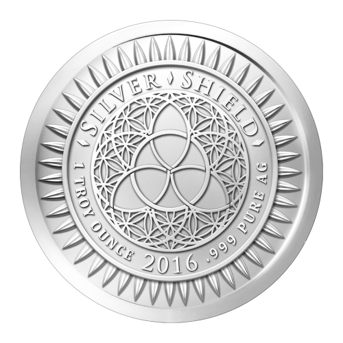 "The Silver Shield logo with the trivium in the centre encircled by the words ""Silver Shield 1 Troy ounce 2016 .999 Pure Ag"" surrounded by 47 bullets"