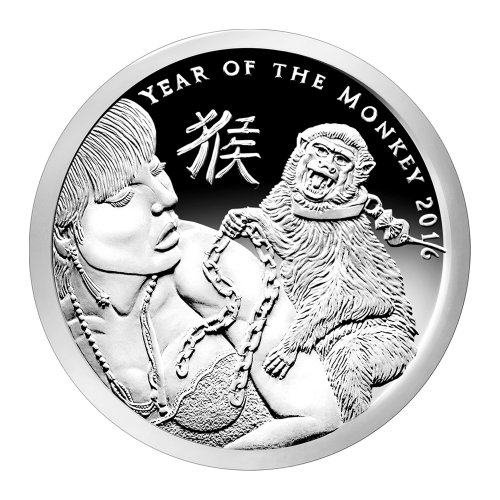 "A monkey on a woman's back trying to enslave her with the chain of eternal debt and the words ""Year of the Monkey 2016"", the Chinese symbol for monkey"