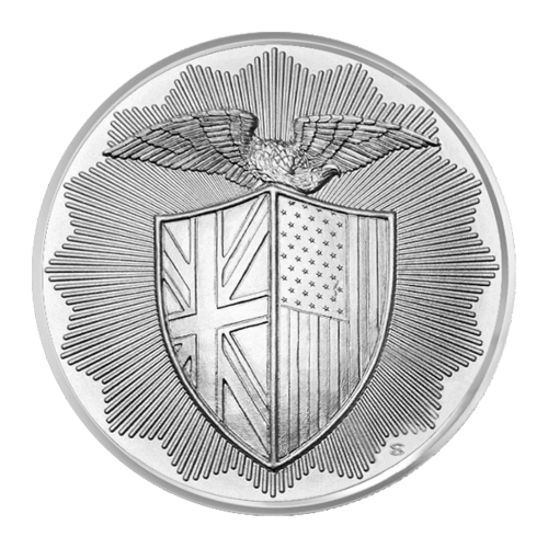 Shield with the Union Jack on the left and the American flag on the right with an eagle with outstretched wings above