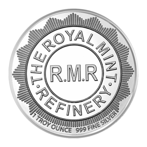 "Concentric circles and the words ""The Royal Mint Refinery R.M.R. 1 Troy Ounce 999 Fine Silver"""