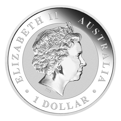 """An adult kookaburra sitting on a fence post and the words """"Australian Kookaburra 1 oz 999 Silver 2016"""" with the mintmark """"P"""" and a monkey privy mark"""