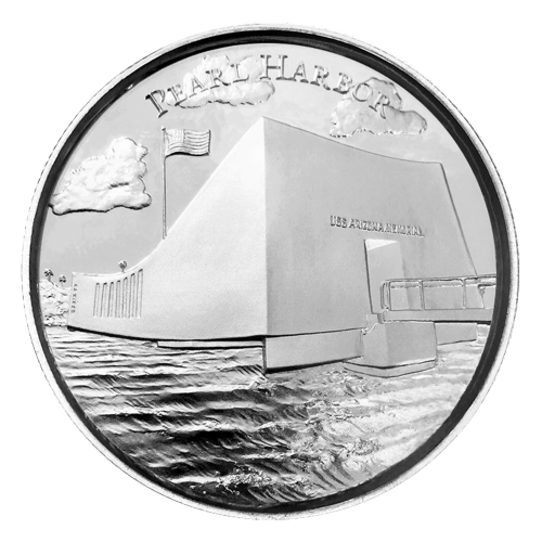 "Relief view of America encircled with the words ""American Landmarks 2 oz .999 Fine Silver"""