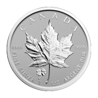 1 oz 2016 Canadian Maple Leaf Four Leaf Clover Privy Reverse Proof Silver Coin