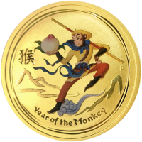 1 oz 2016 Perth Mint Monkey King Colourized Gold Coin